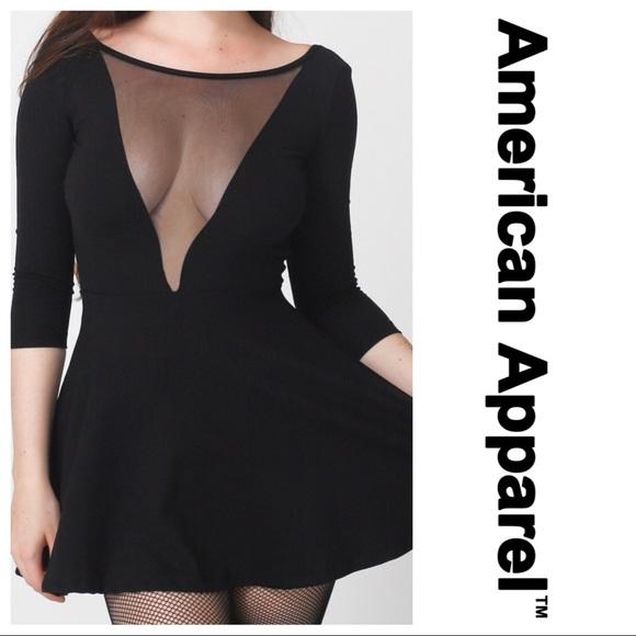 d3a76e81d3b American Apparel Dresses   Skirts - American Apparel Deep V Mesh Skater Dress  Size S